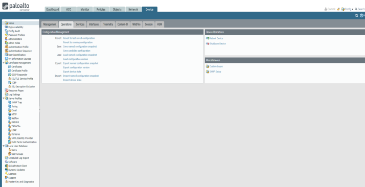 Palo Alto Firewall – Managment Configuration and Admin Roles